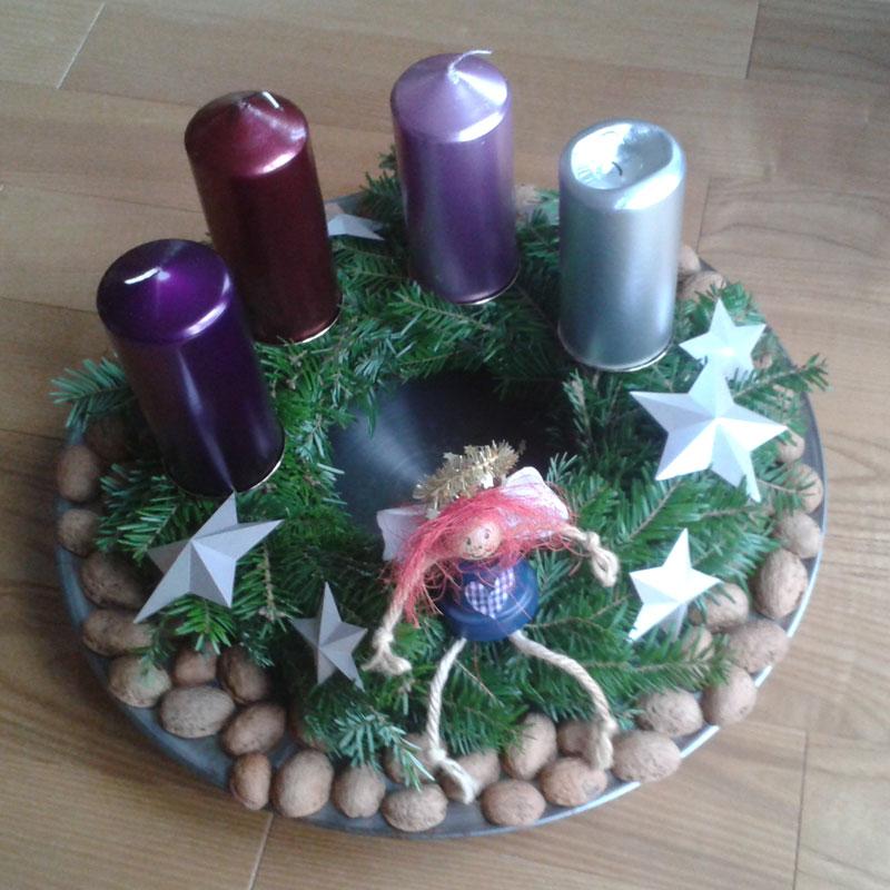 Adventskranz 2014 mit 3D-Sternen