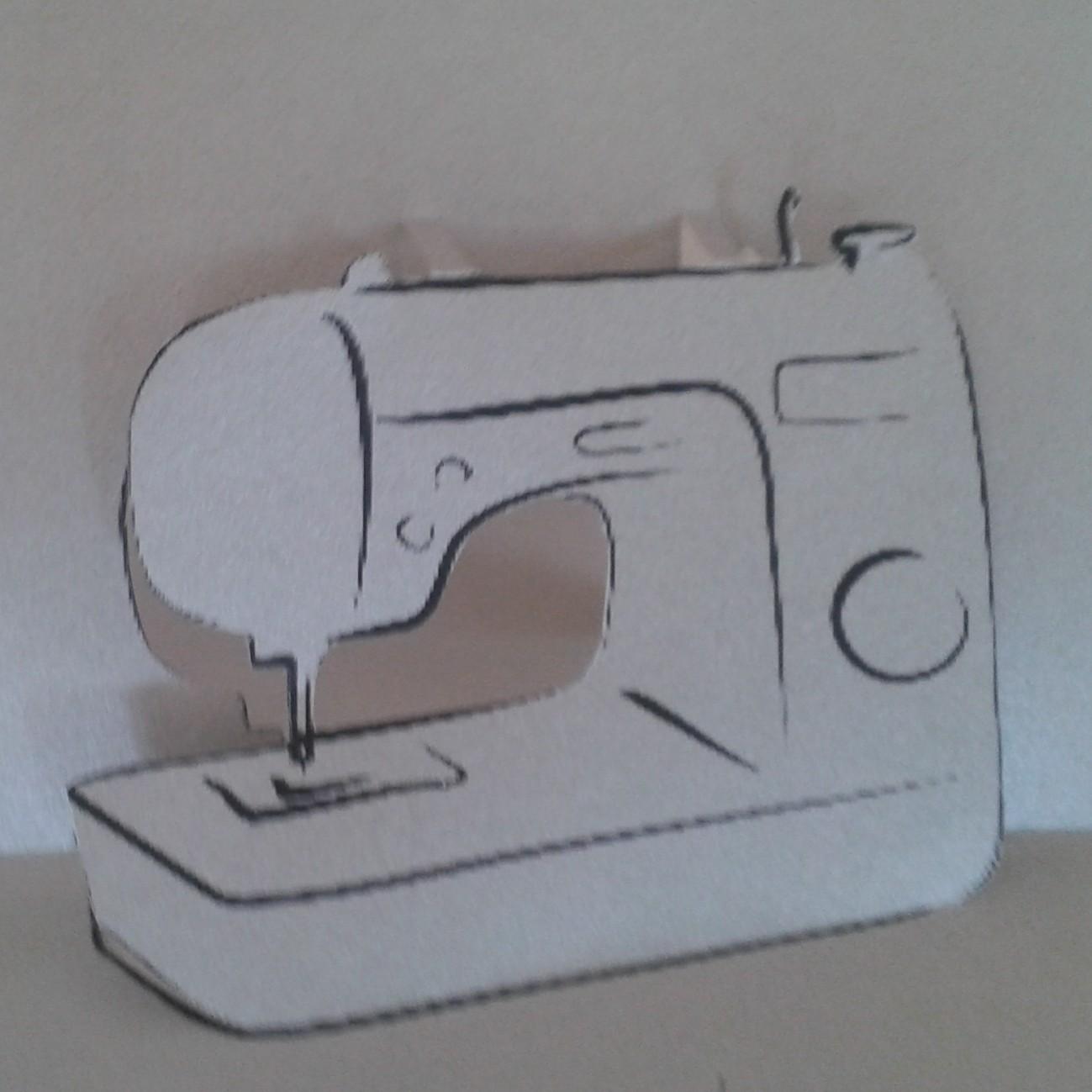 Popup-Karte mit einer Nähmaschine