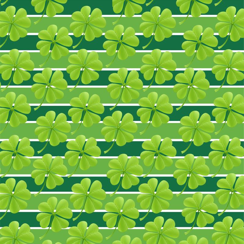 Muster-Mittwoch mit grünen Kleeblättern auf grünen Streifen