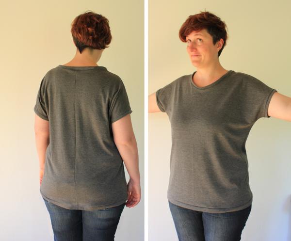 Basic-Shirt in grau nach eigenem Schnitt