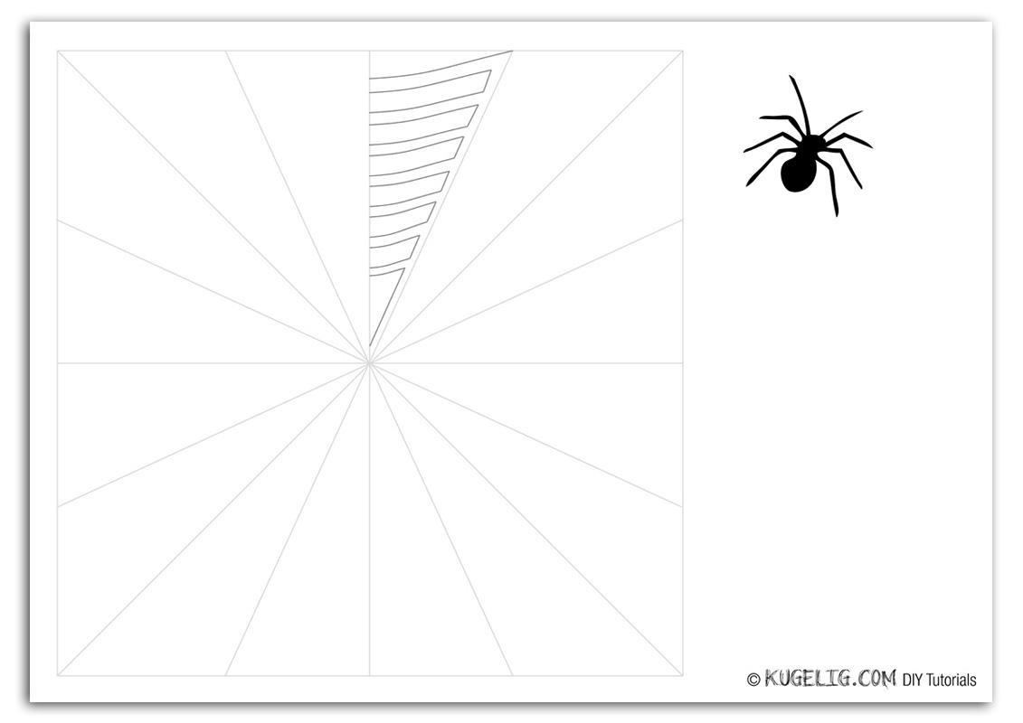 Halloween Spinnennetz aus Papier, Bastelbogen