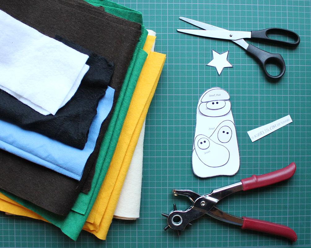 Werkzeug: Schere, Klebestift, Löchzange und Nadel & Faden. Material: Filz in verschiedenen Farben.