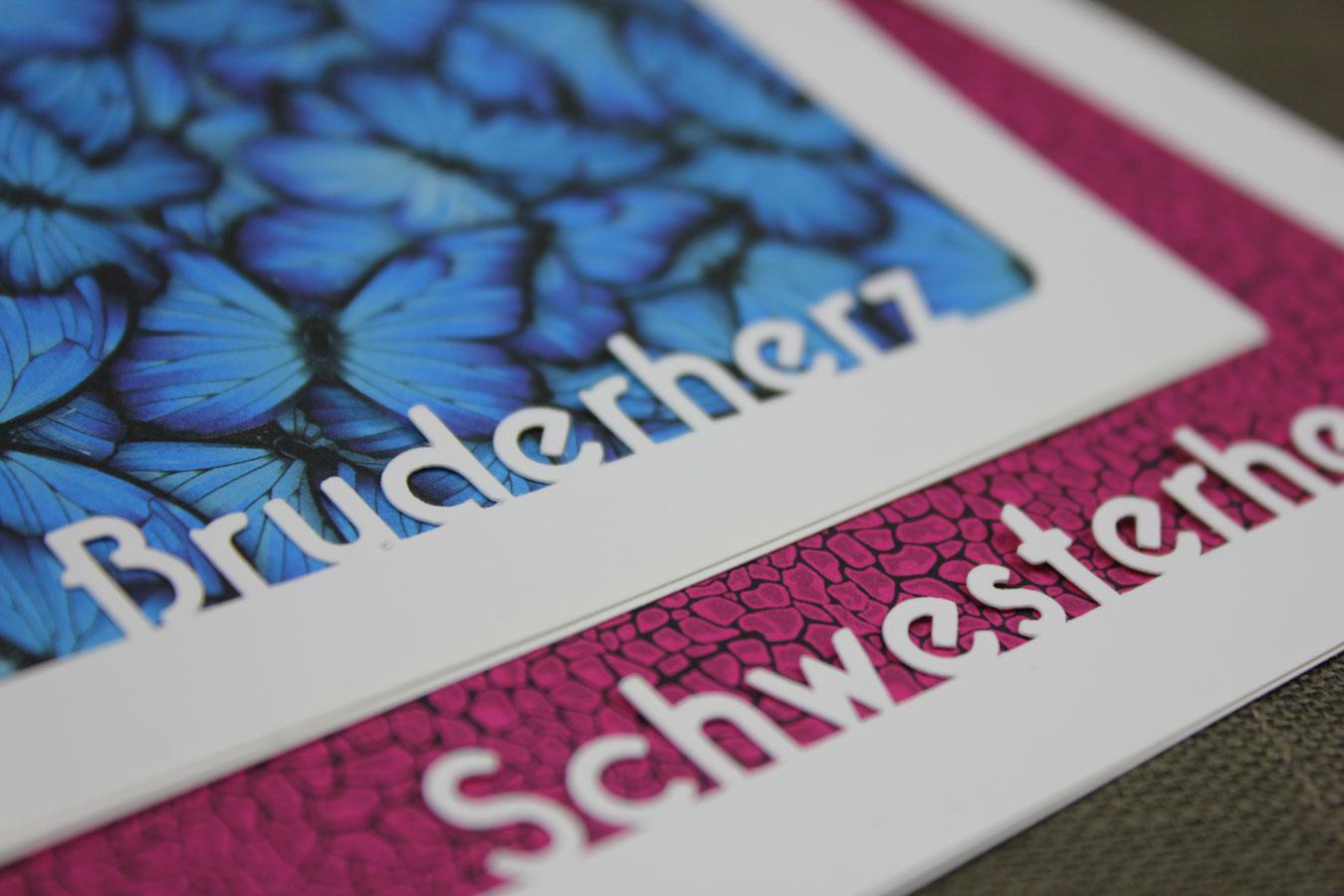 Geschwisterliebe: Passepartout mit Bruderherz und Schwesterherz - erstellt mit KUGELIG Stencil