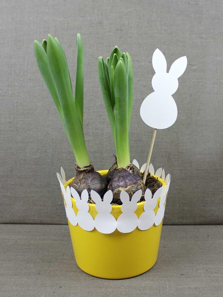 Ich verschenke sehr gerne Pflanzen - und passend zu Ostern schmücke ich Blumentöpfe mit Wimpelketten oder auch mit Blumensteckern in Osternhasen-Form.
