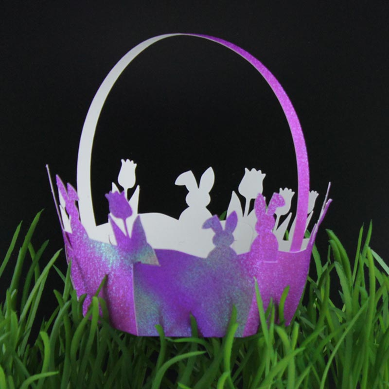 Plotterdatei Osterkörbche mit Osterhasen und Tulpen