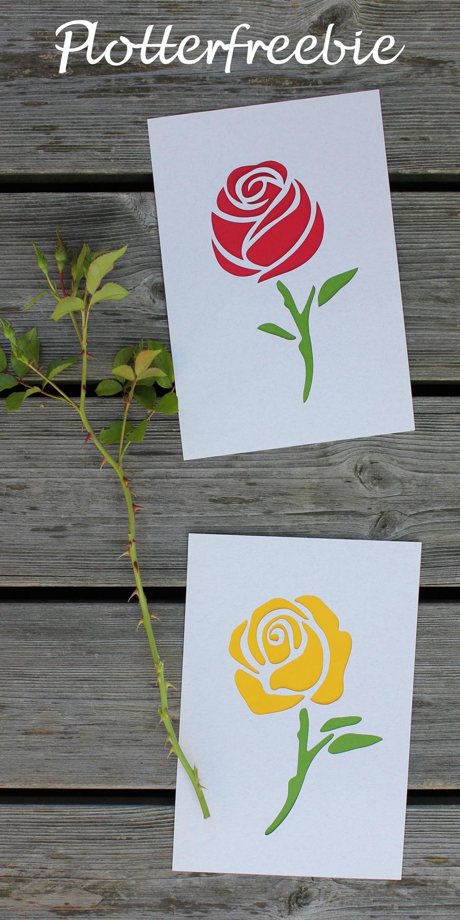 Rosen-Plotterfreebie: eine aufblühende und eine offene Rose