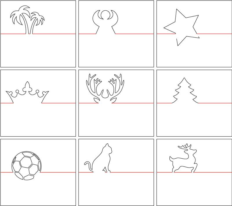 Erweitert um 4 Weihnachtsmotive: Stern, Tannenbaum, Rentier und Engelchen