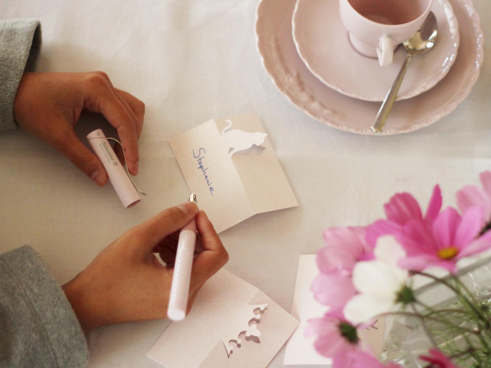 Namenskärtchen mit Füller beschriften - Füller in rosé von Schneider