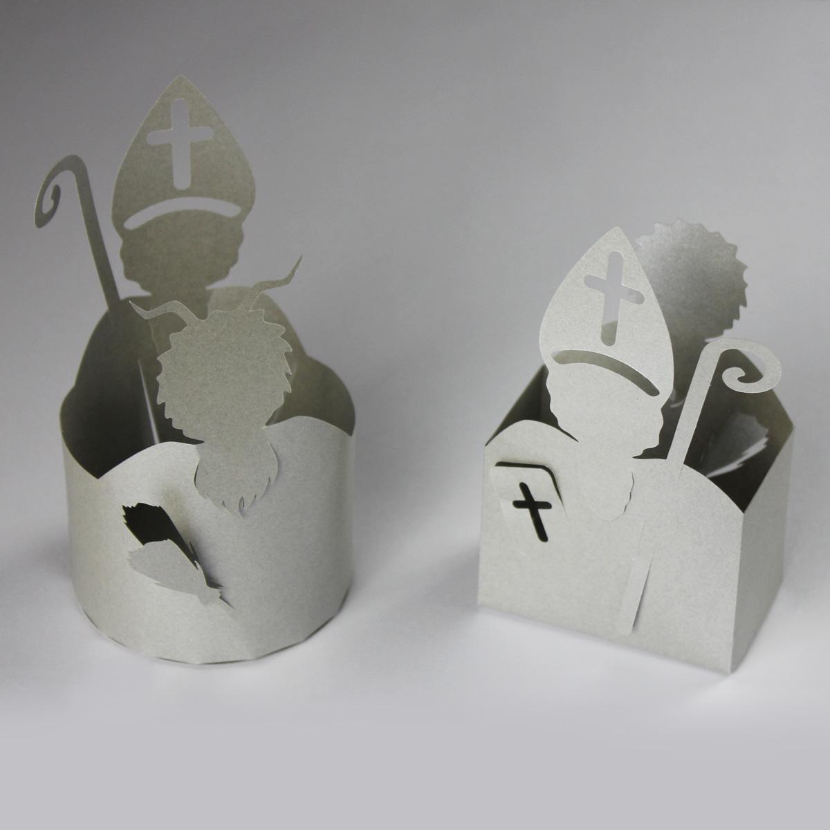 Geplottete Nikolauskörbchen aus Papier