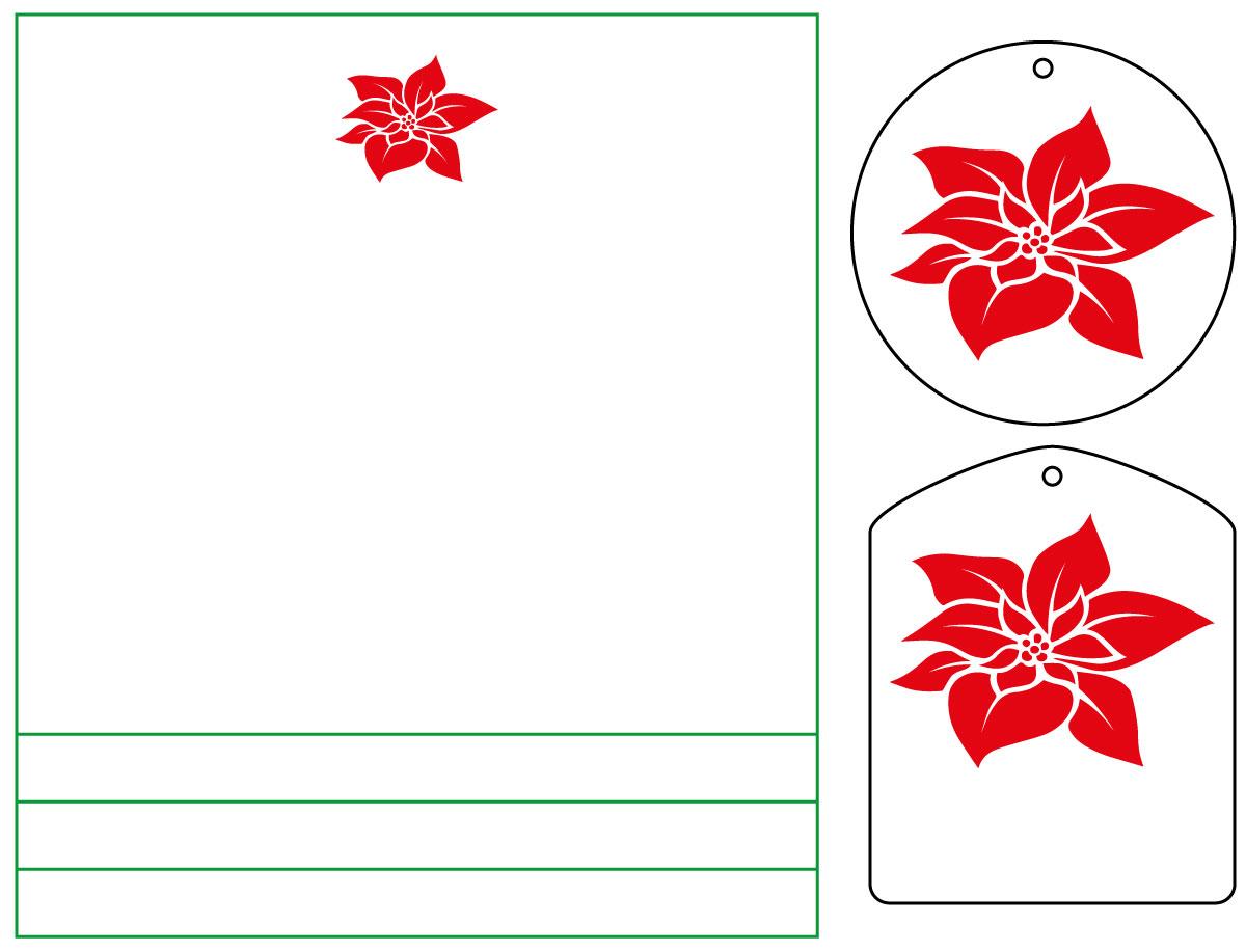 Plotterfreebie für Windlicht und Geschenkanhänger mit Weihnachtsstern-Blüte