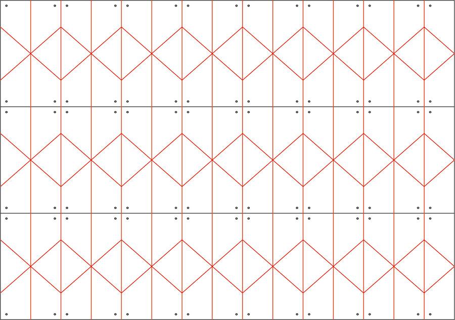 Bastelvorlage für Plissee-Sterne: die schwarzen Linien werden geschnitten und die roten Linien gefaltet
