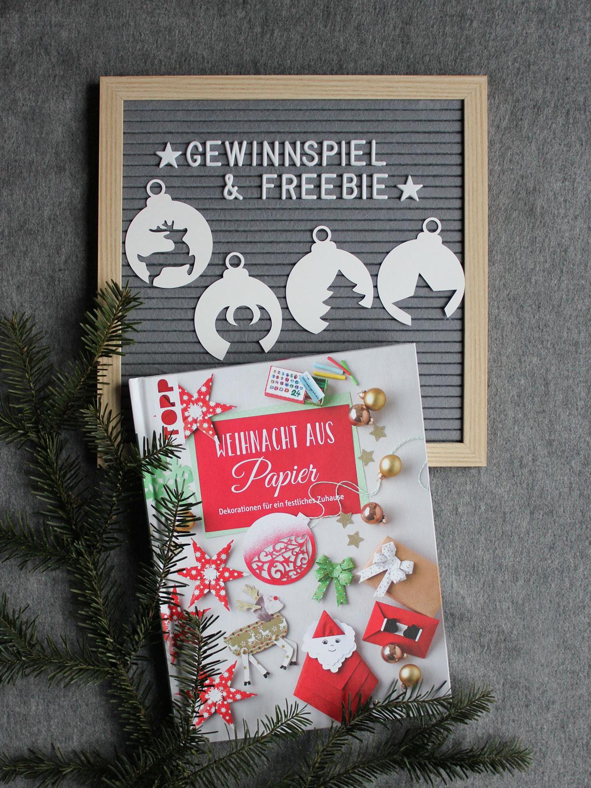 Plotterfreebie Weihnachtskugeln: Tannenbaum, Stern, Engel und Rentier