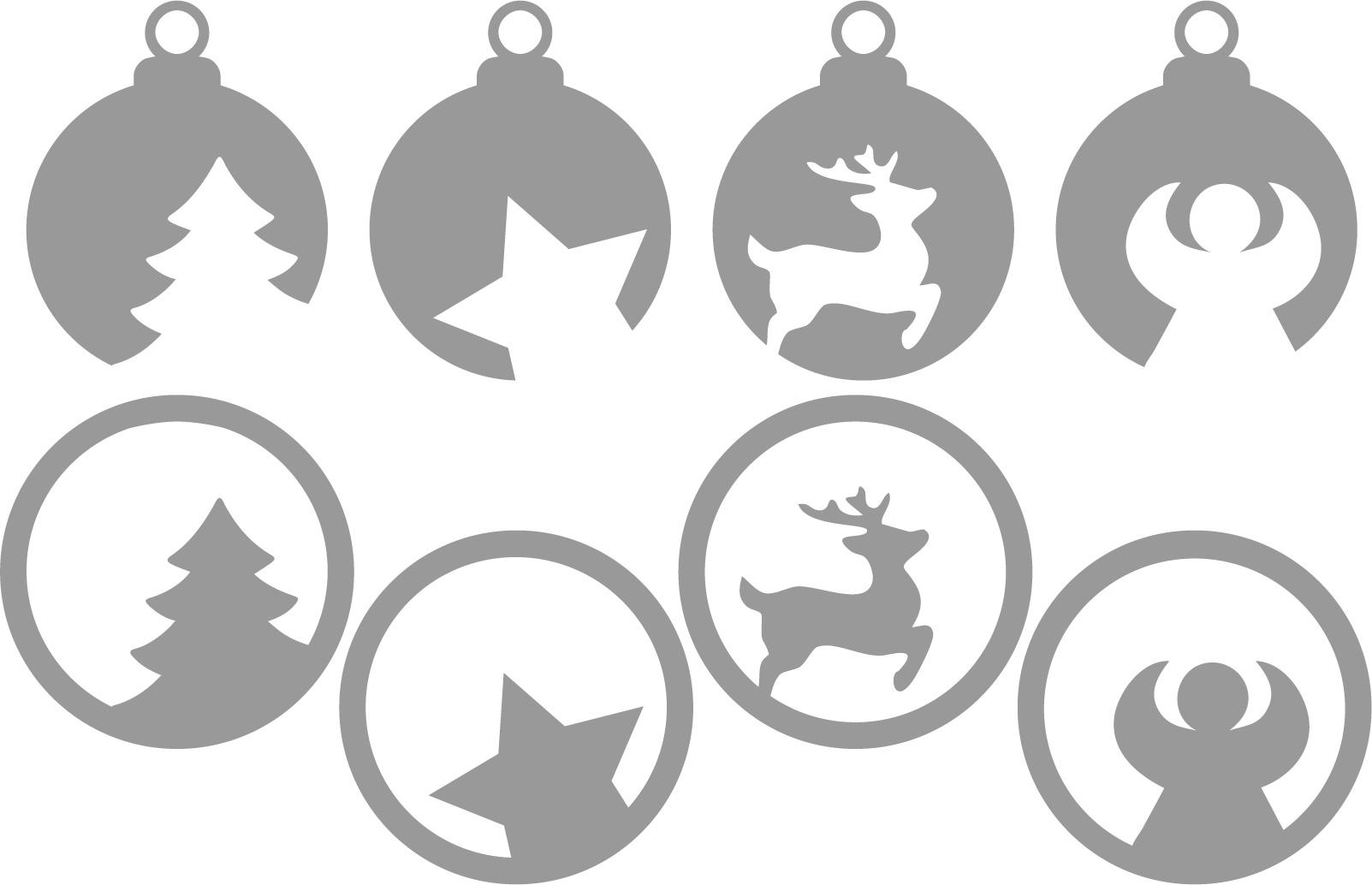 Plotterfreebie Weihnachtskugeln mit Tannenbaum, Stern, Engel und Rentier