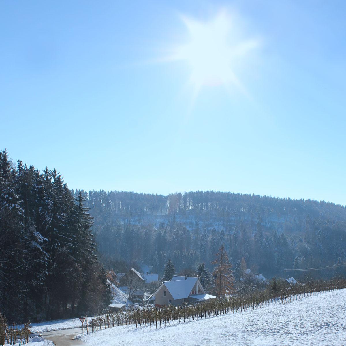 Privates Lieblingsbild: Unser Zuhause mit Sonne & Schnee