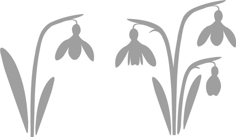 Plotterfreebie Schneeglöckchen in zwei Varianten: einmal mit einer Blüte und einmal mit drei Blüten