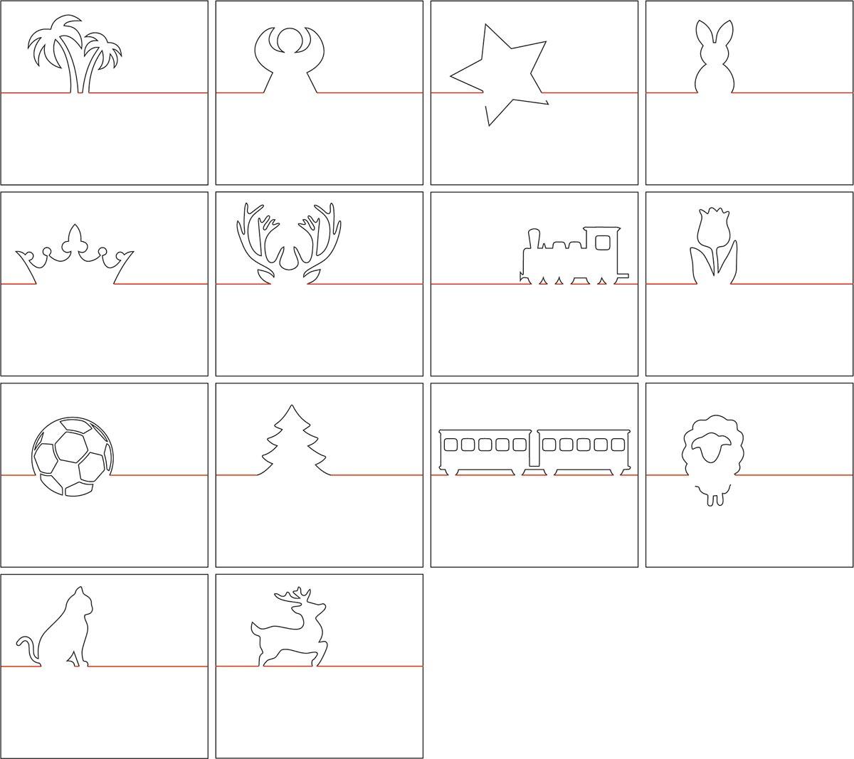 14 Motive für Tischkärtchen sind im Download-Paket - passend für Ostern, Weihnachten, Kindergeburtstage uvm.