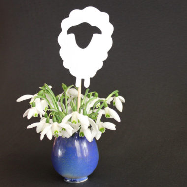 Ostern-Blumenstecker aus Papier: Schaf / Osterlamm