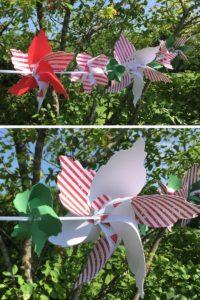 Basteltipp: Windrad aus Moosgummi und Kunststoff als Gartengirlande