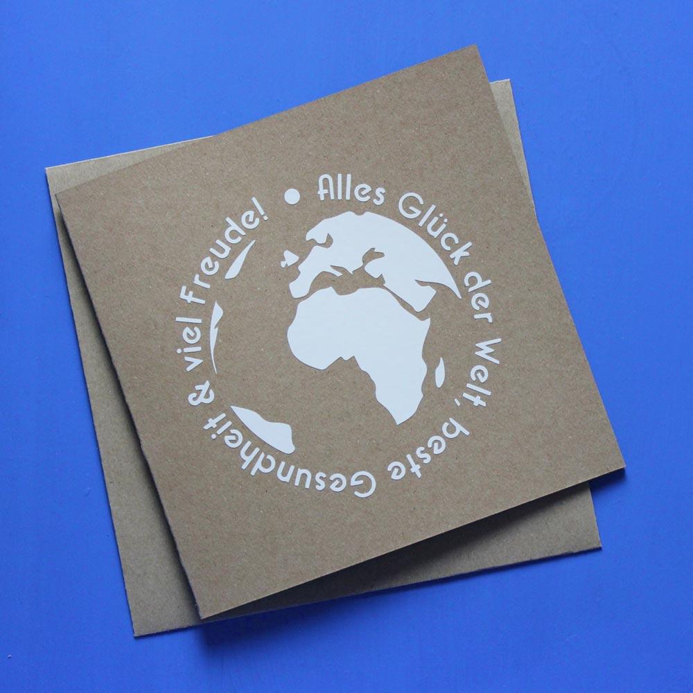 Glückwunschkarte Weltenbummler Plotterfreebie