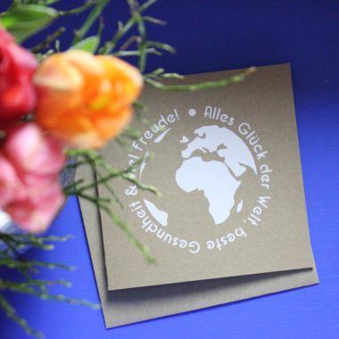 Glückwunschkarte für Weltenbummler, Plotterfreebie