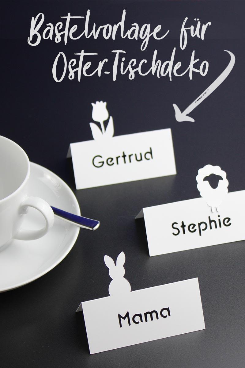 Bastelvorlage für 3 Oster-Tischkarten: Osterhase, Tulpe und Schaf