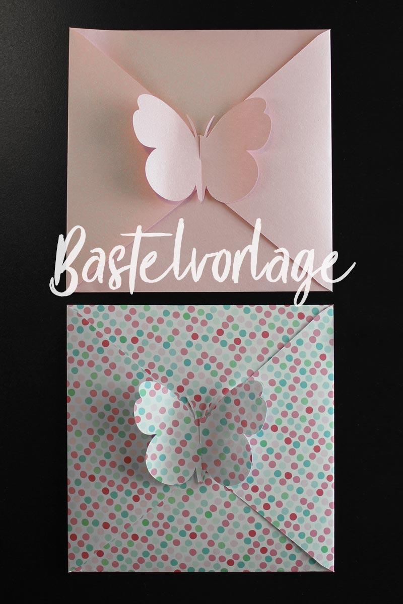 Bastelvorlage & Plotterfreebie für Briefumschlag mit Schmetterling