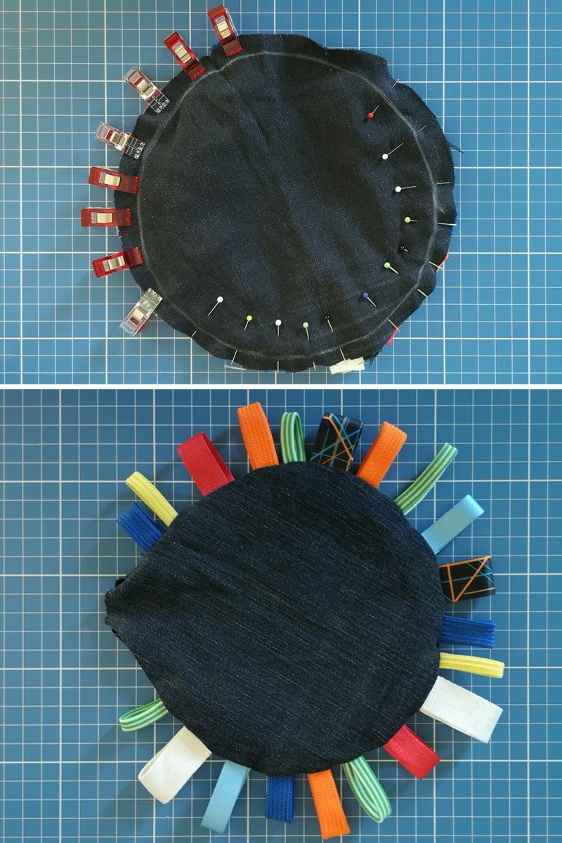 Babyrassel Nähanleitung: die Bänder und die beiden Kreise heften und bis auf die Wendeöffnung zusammennähen