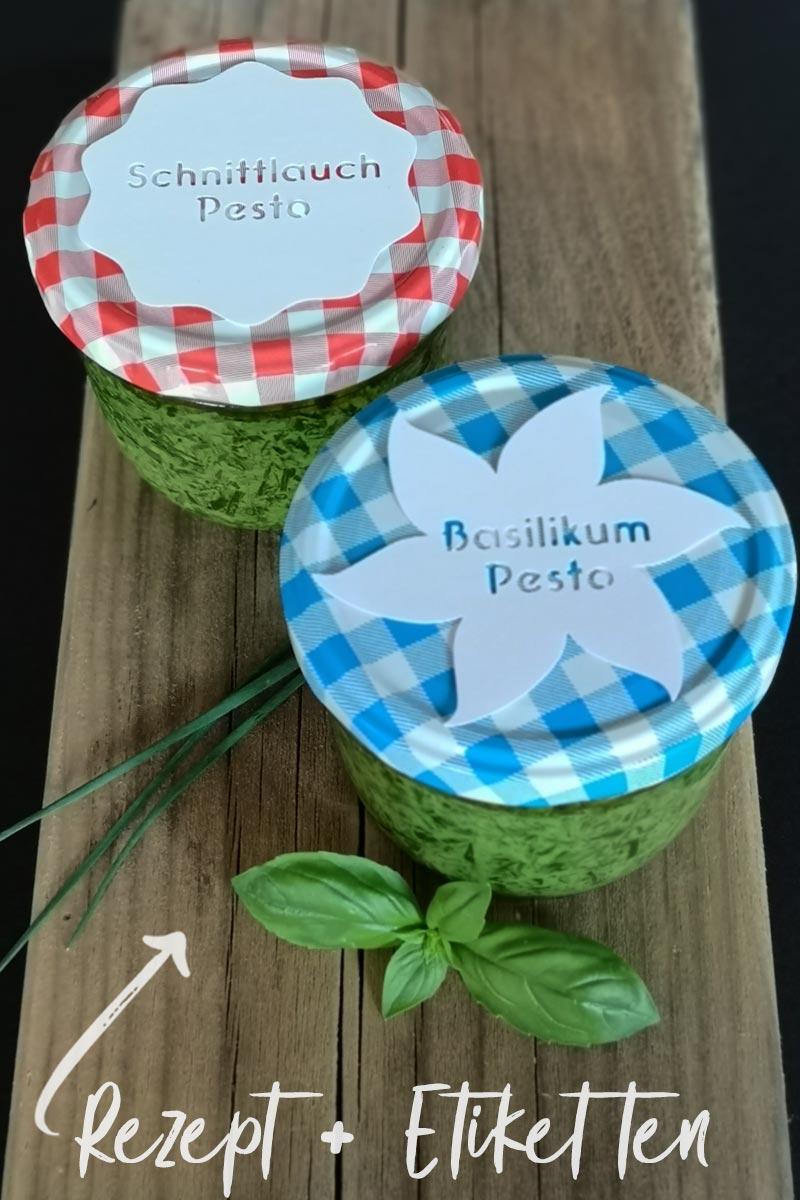 Schnittlauch-Pesto mit Minzen & Plotterfreebie für Etiketten