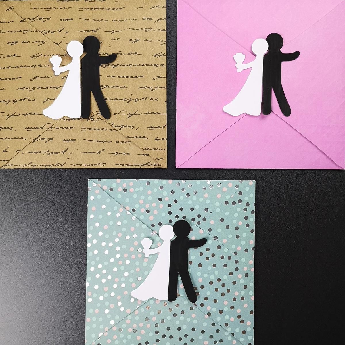 Bastelvorlage für Hochzeitskarte mit Brautpaar