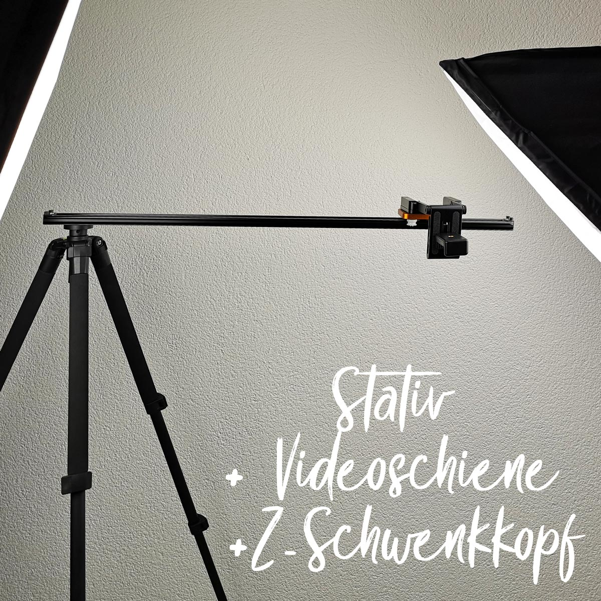 Meine Video-Aufbau: Stativ + Videoschiene + Z-Schwenkkopf