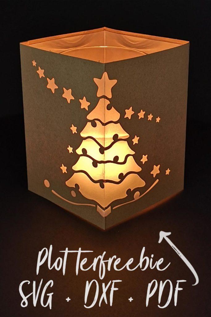 Plotterfreebie Windlicht Weihnachtsbaum