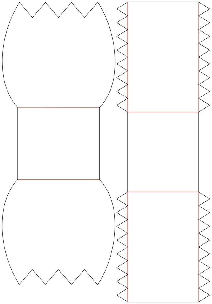 Bastelvorlage / Plotterfreebie: die roten Linien sind die Faltlinien (beim Plotten auf Perforieren oder mit Anpressdruck 1 plotten) - und die schwarzen sind die Schneidelinien
