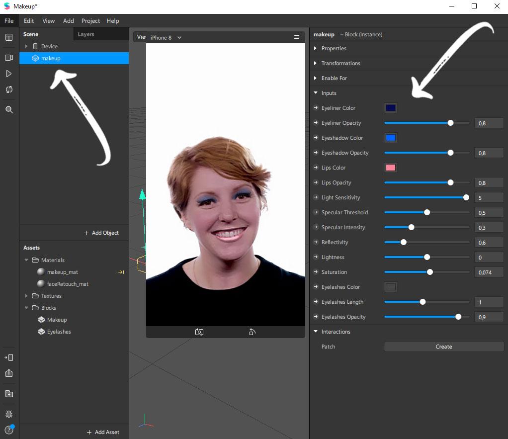 Instagram Filter mit Spark AR erstellen: Makeup definieren
