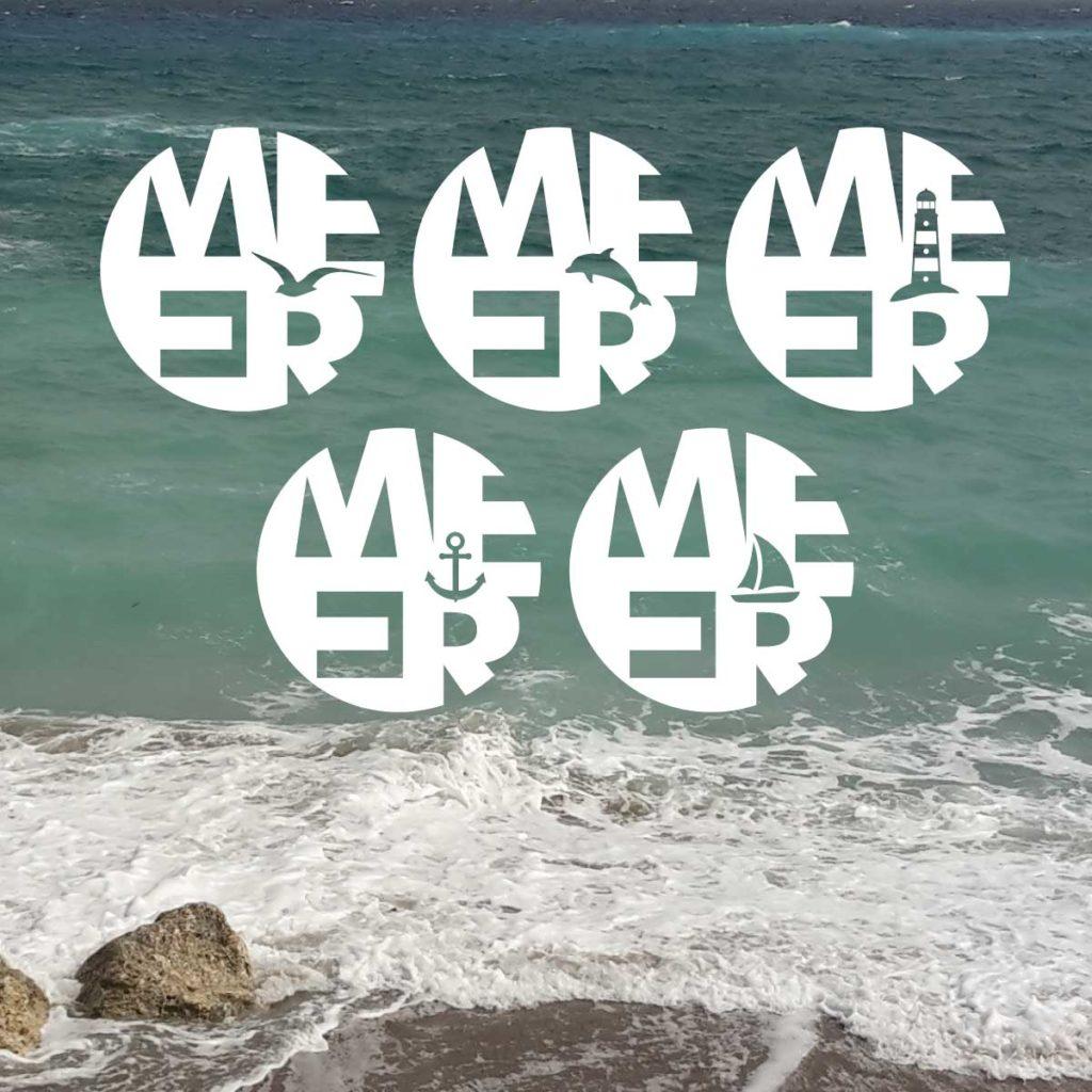 """5 Plotterfreebies mit dem Statement """"MEER"""" kombiniert mit einer Möwe, einem Delfin, einem Leuchtturm, einem Anker und einem Segelboot"""