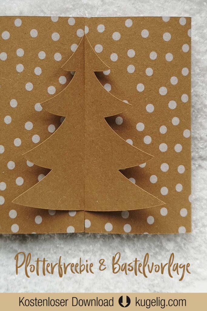 Weihnachts-Faltkarte mit Tannenbaum - Plotterfreebie & Bastelvorlage PDF/SVG/DXF
