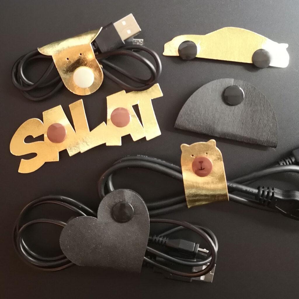 8 Plotterfreebies für Kabel-Organizer: Auto, Herz, Salat, Bär, Hund...