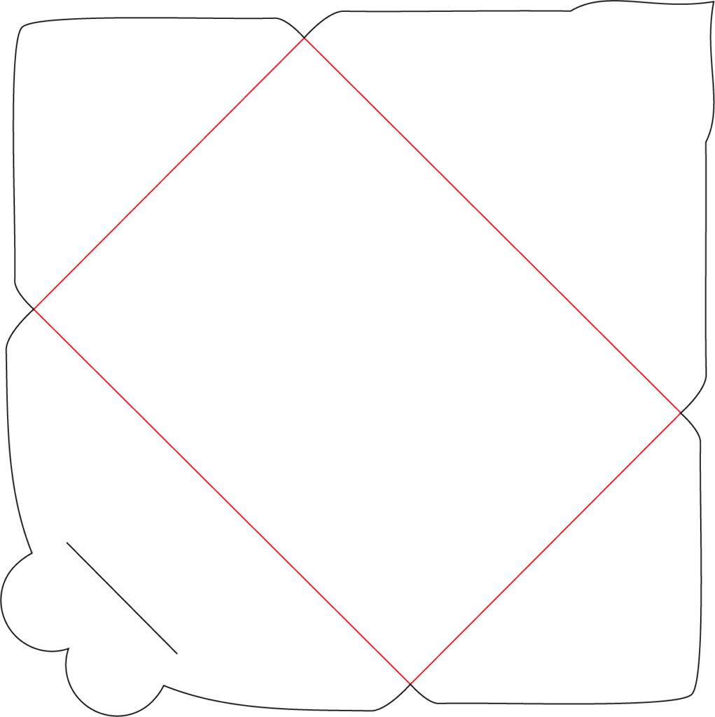 Plotterfreebie Kuvert mit Herz: die roten Linien falten, die schwarzen Linien schneiden