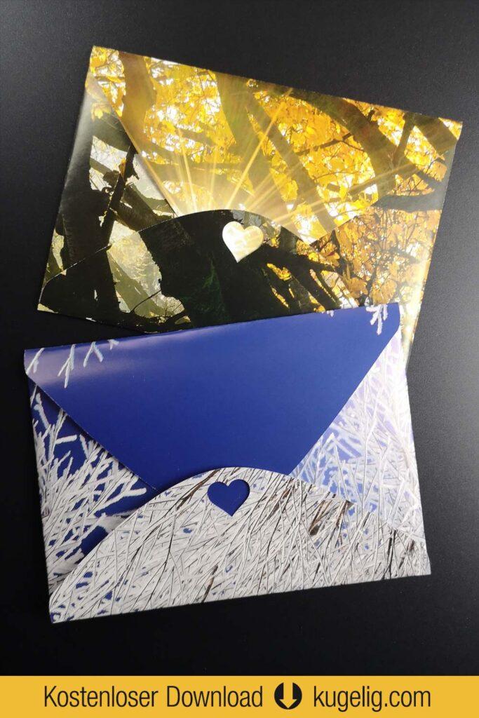 Briefumschlag aus Kalenderblatt - Plotterfreebie & Bastelvorlage PDF, SVG, DXF