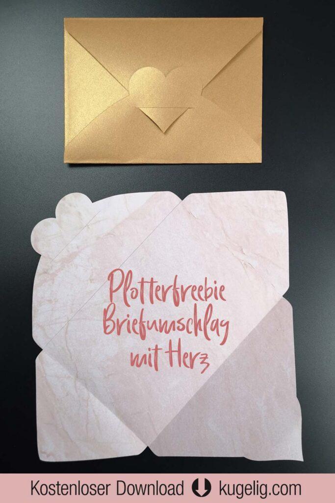 Plotterfreebie & Bastelvorlage: Briefumschlag mit geteiltem Herz